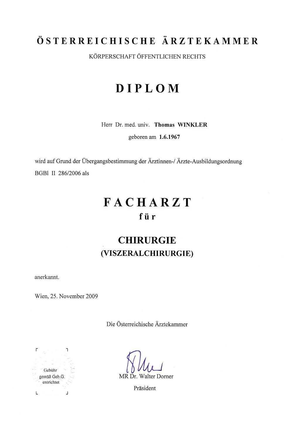 Facharztzeugnis Facharzt für Viszeralchirurgie Сертификаты