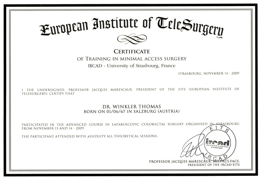 Spezialausbildung Minimal Access Surgery Сертификаты