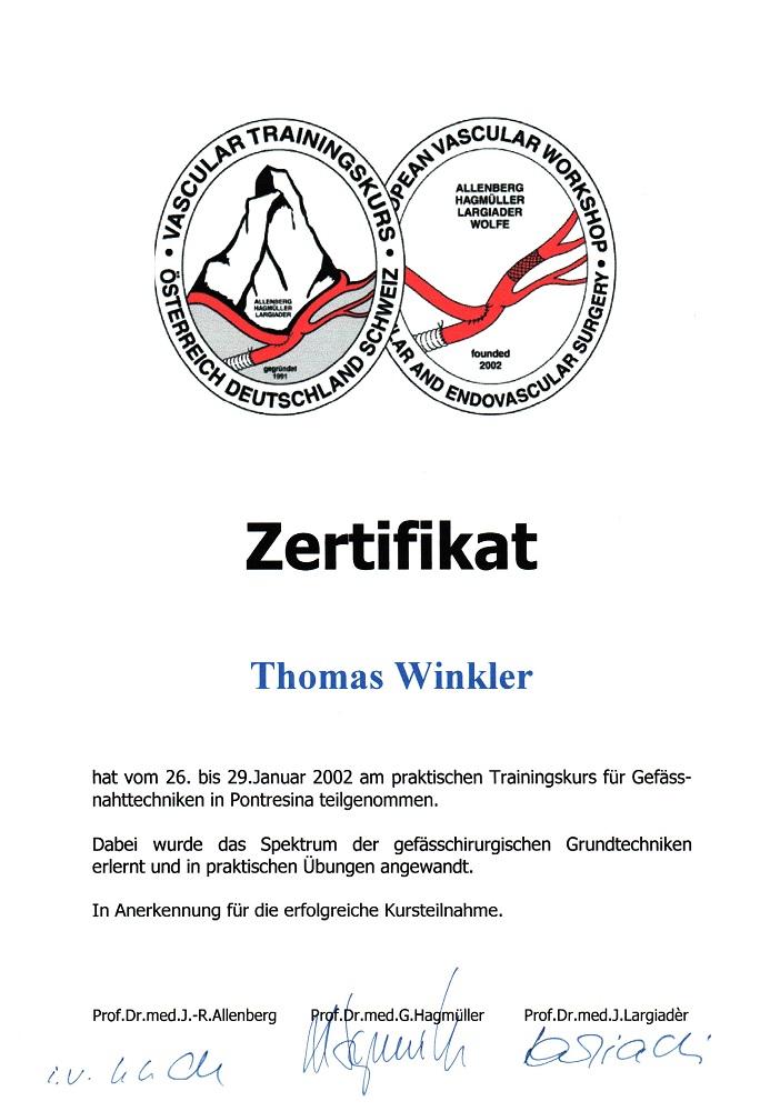 Vertiefende Ausbildung Gefaesschirurgie Сертификаты